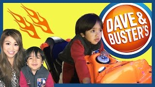 getlinkyoutube.com-Family Fun Indoor Games and Activities for Kids Dave & Buster's Car Racing Surprise Toys