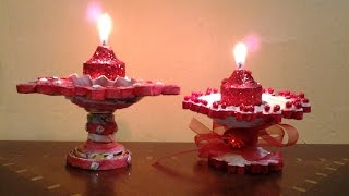getlinkyoutube.com-Best Out Of Waste Paper Candle and Diya Stand
