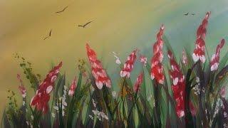 getlinkyoutube.com-Картина за 3 минуты! Рисуем травку и цветы гуашью