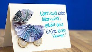 getlinkyoutube.com-Geldgeschenk zur Babyparty: Geldscheine als Kinderwagen