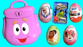 getlinkyoutube.com-Dora's Backpack Surprise Baby Toys Eggs Minnie Sofia Shopkins Frozen Elsa TinkerBell Kinder Fairies