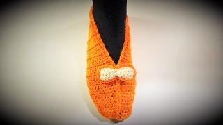 getlinkyoutube.com-Heklane popke - pape (Crochet Slippers)