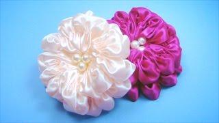getlinkyoutube.com-ПЫШНЫЙ ЦВЕТОК из атласной ленты. Мастер-класс / Satin Ribbon Flower Tutorial / ✿ NataliDoma