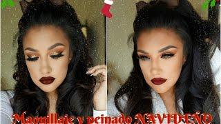 getlinkyoutube.com-Maquillaje + Peinado para  Noche Buena Navidad / Christmas Eve Makeup tutorial    auroramakeup