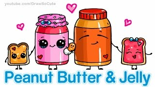 getlinkyoutube.com-How to Draw Cute Cartoon Food - Peanut Butter and Jelly Sandwich