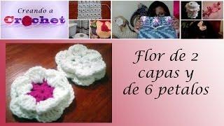 getlinkyoutube.com-Flor de 2 capas de 6 petalos - Tutorial de tejido crochet