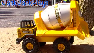 Construction Vehicles for Kids: Tonka Cement Mixer Toy UNBOXING- trucks bulldozer backhoe dump width=
