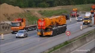 getlinkyoutube.com-Knaack Krane LTM 1500-8.1 und Ballasttieflader auf dem Weg zur Baustelle