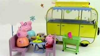 getlinkyoutube.com-Camping Car de Peppa Pig Camper van Toy Pâte à modeler Play doh Jouets