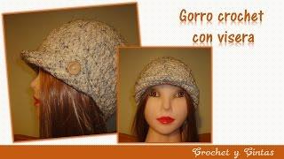 getlinkyoutube.com-Gorro crochet  (ganchillo) para mujer con visera