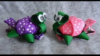 getlinkyoutube.com-TINY 3D TURTLE Ribbon Sculpture Zoo Animal Girl's Hair Clip Bow DIY Free Tutorial by Lacey