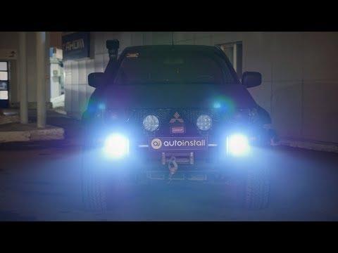 Как светят светодиодные ПТФ с линзой и подсветка арок Rock light RGB ночью. L200 led fog lights