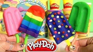 getlinkyoutube.com-Play Doh Popsicles Scoops 'n Treats DIY Ice Cream Ultimate Rainbow Popsicle Paleta Ghiacciolo