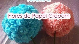 getlinkyoutube.com-Bola de flores de Papel Crepom || TUTORIAL || Paper crepe flowers