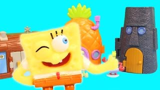 getlinkyoutube.com-Nickelodeon Spongebob Squarepants Pineapple House Krusty Krab SquidWard's Mini Playset