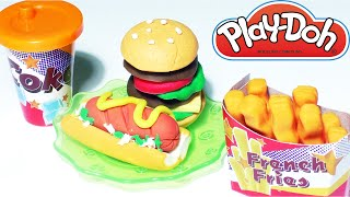 Play-Doh Burger Hamburger Playdough Hot Dog Fries Cooking Games Doh Food Kids Fun Toys
