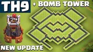 getlinkyoutube.com-NEW TH9 Farming Base + BOMB TOWER UPDATE - Clash of Clans