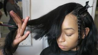 getlinkyoutube.com-How to install a DEEP SIDE PART BOB SEW IN (GRADUATED CUT) FULL SEW IN | @mizmakeme
