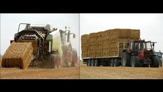 getlinkyoutube.com-Stro persen en laden met Fendt 936 Vario / International 1455 XL Baling straw Pressen - Veerman