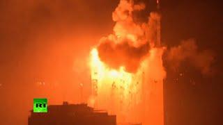 getlinkyoutube.com-Gaza Bombing: Massive explosion as Israeli strikes hit media building