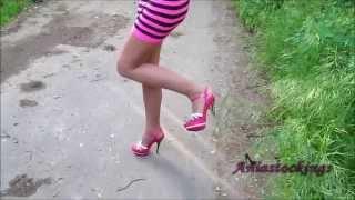 getlinkyoutube.com-ANIA Outdoors Walking Pink Highheels Legs Pantyhose