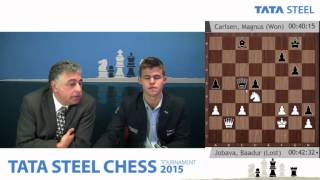 getlinkyoutube.com-Magnus Carlsen analysis his nice win against Baadur Jobava  - Tata Steel Chess Tournament 2015