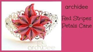 getlinkyoutube.com-Tutorial | Polymer Clay | Red Stripes Petals Millefiori Cane | Murrina | DIY