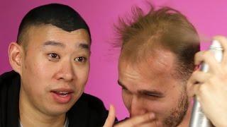 flushyoutube.com-Balding Men Try Spray-On Hair