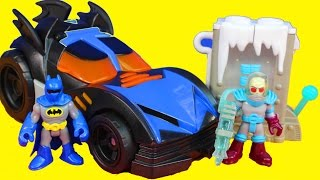 getlinkyoutube.com-Imaginext Batman Batmobile with Joker Penguin Mr. Freeze DC Villians and Heroes