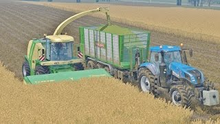 getlinkyoutube.com-Farming Simulator 15 Krone Big X 1100 Wheat Silage + New Holland T8 + John Deere 7810