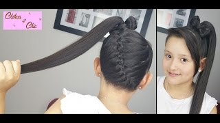 getlinkyoutube.com-Trenza Diagonal terminada en Lazo Alto! - Diagonal Braid into Ponytail Bow! | Chikas Chic