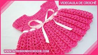 getlinkyoutube.com-Vestido de Croche para Bebê Princesinha - Aprendendo Crochê