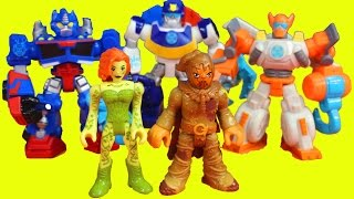 getlinkyoutube.com-Transformers optimus prime  Rescue Bots save Dani Burns from imaginext Poison Ivy and Scarecrow