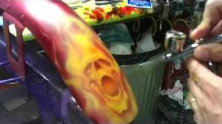 getlinkyoutube.com-Six Pack O Skullz airbrushing with real fire by Scott MacKay
