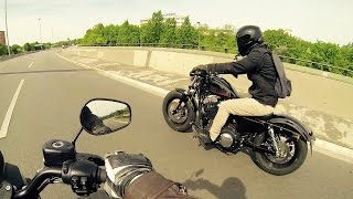 getlinkyoutube.com-Harley Davidson Iron 883 vs Forty Eight 1200 - Acceleration  [1080p]