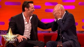 getlinkyoutube.com-Hugh Jackman Loses It Over Sir Patrick Stewart's Ridiculous Circumcision Story -  Graham Norton Show