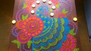 getlinkyoutube.com-Colorful and unique peacock rangoli for diwali   Innovative rangoli designs by Poonam Borkar