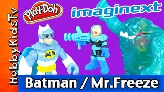 getlinkyoutube.com-Imaginext Batman Mr. Freeze Ice Monster Play-Doh Robin Queen Elsa Frozen HobbyKidsTV
