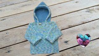 getlinkyoutube.com-Pull à capuche bébé tricot facile