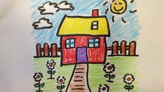 How to draw a cartoon flower garden - Free & Easy Tutorial for Kids