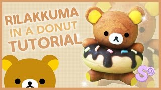 getlinkyoutube.com-Rilakkuma in a Donut | Polymer Clay Tutorial
