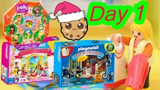 getlinkyoutube.com-Polly Pocket, Playmobil Holiday Christmas Advent Calendar Day 1 Toy Surprise Opening