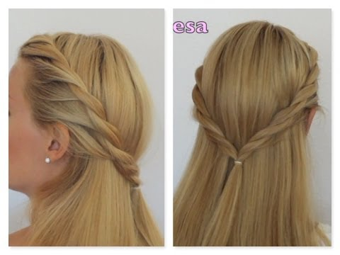 Semirecogido trenza dos cabos -  Peinado facil, paso a paso