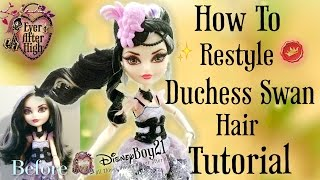 getlinkyoutube.com-How to Restyle Duchess Swan Doll Hair Tutorial - Ever After High - Hair Bump/ Bun/ Curl