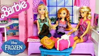 Barbie Glam Vacation House with Disney's Frozen Elsa and Princess Anna Dolls Play Doh Gifts