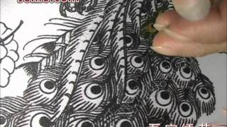 getlinkyoutube.com-Peacock Tail Feather Embroidery video clip