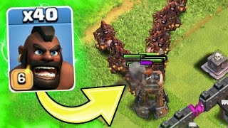getlinkyoutube.com-Clash Of Clans - 40 MAX HOGS vs THE BOMB TOWER! - TESTING NEW TROOPS!