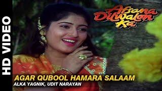 Agar Qubool Hamara Salaam  - Afsana Dilwalon Ka | Alka Yagnik, Udit Narayan | Rahul Roy & Juni