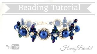 getlinkyoutube.com-Beginners Bracelet Dear Diamonds *(4)* Beading Tutorial by HoneyBeads1 (with superduo beads)