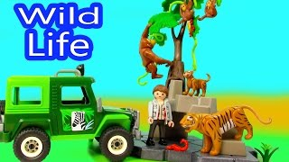 Playmobil Wild Life Truck Jungle Animals Mom Baby Tigers Orangutan Playset Blind Bag Opening